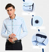New Spring Men Dress Shirts Patchwork Plaid Neck Long Sleeve Formal Business Pure Color Men Casual Shirt Plus Size XXL