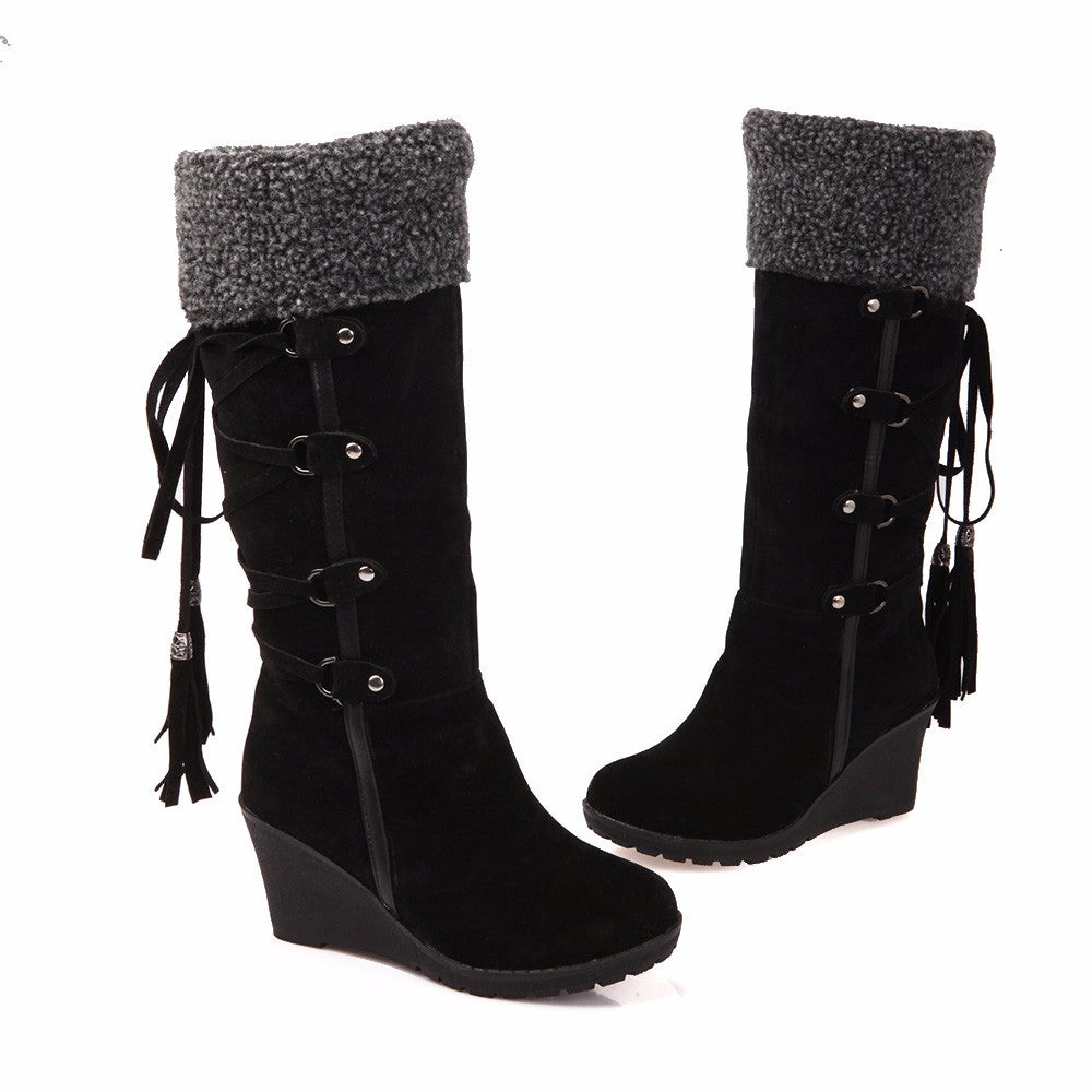 2ce83cdb2cb Winter Women Snow Boots High Heels Fashion Scrub Wedges Knee-high Plush  Boots Thermal Female