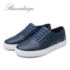 Fake Lace-Up Minimalist Designer Men's Leather Leisure Shoes Luxury Male Flat Casual Shoes