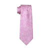 Mens Silk Ties Pink Paisley Neck Tie 100% Silk Jacquard Ties For Men Business Wedding Party