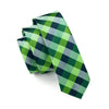 Men Ties Silk Skinny Ties For Men Slim Tie Plaid Green Necktie