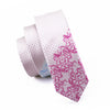 Locate Pattern Pink Novelty Narrow Classic Skinny Tie Slim Necktie 100% Silk For Men Wedding Party Business