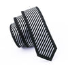 Skinny Tie Locate Pattern White Striped Black Novelty Narrow Classic Slim Necktie Silk For Wedding Party Business