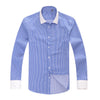 New White Collar Men Business Dress Shirt 100% Cotton Patchwork Striped Fashion Long Sleeve Men Social Casual Shirt