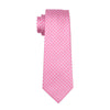 Gents Necktie Pink Plaid 100% Silk Jacquard Tie Hanky Cufflinks Set Business Wedding Party Ties For Men