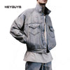 oversize  high street Denim Jacket Hip Hop Suit Pullover Winter vintage Men fashion Casual jackets washed damage