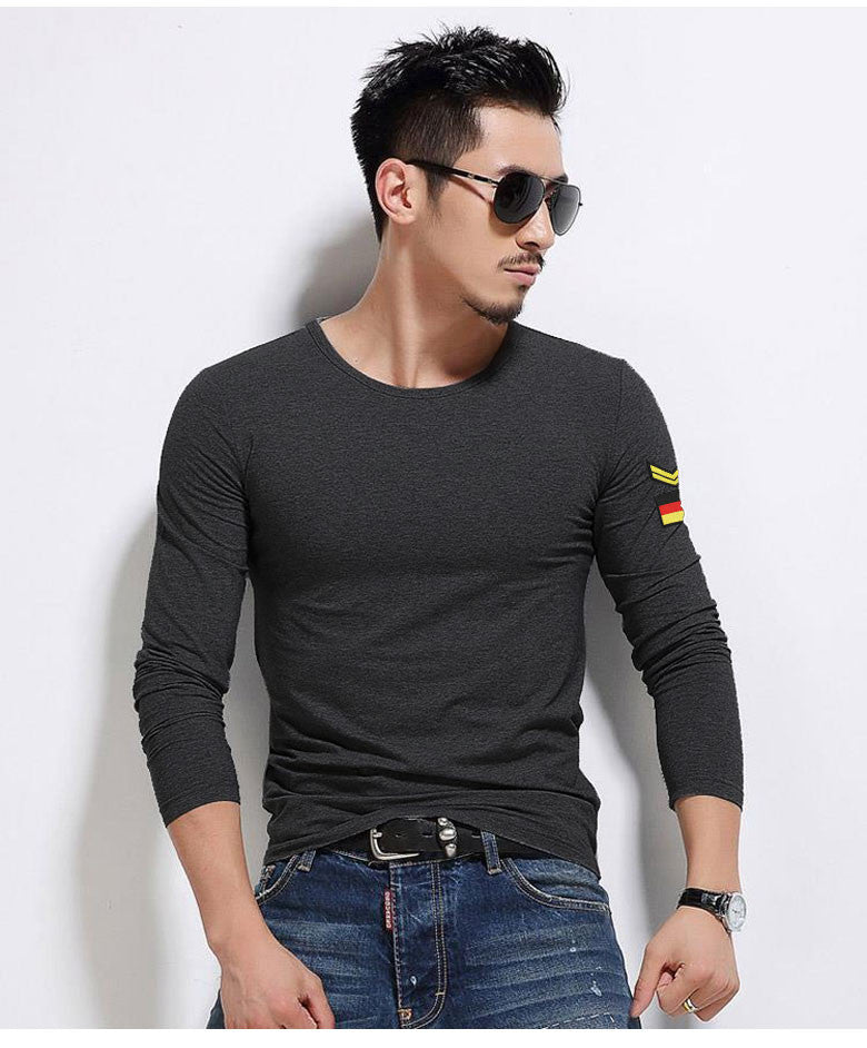 Solid Color Long Sleeves T Shirt Menfull Men Tees Cotton Tight Fit Casual