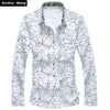 Men Printed Long Sleeve Shirt Slim Business Leisure Shirt Plus Size 5XL 6XL 7XL Male Casual Shirt Tops