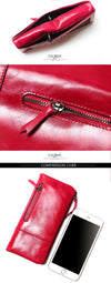 New Women Retro  Leather Passport Bag Longer Genuine Leather Wallets Female Fashion Coin Purse