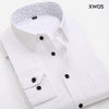 Men Printed Patchwork Collar Dress Shirt Long Sleeve Pocket Regular Fit Social Casual Business Office Men Shirt