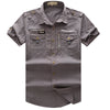 Men's Shirt New Men Cargo Shirt Fashion Casual Short Sleeve Mens Shirt 100% Cotton Solid Plus Size S-XL