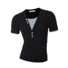 Male Short Sleeve Fake Two T Shirt V-Neck Slim Men T-Shirt Camisetas Fashion Hombre Tee Shirt Home T Shirts