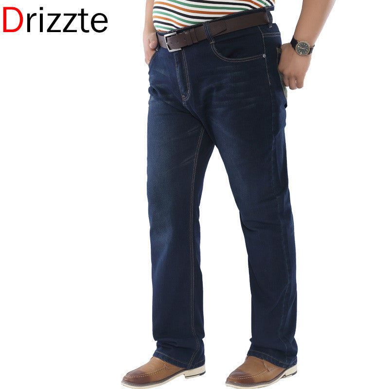 7b884607f6e Men Stretch Jeans Blue Denim Business Jean Relax Work Trousers Pants ...