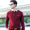 autumn new men's long-sleeved shirt POLO explosion models lapel middle-aged men's casual POLO shirt