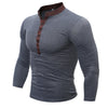 T Shirt Men Male Long Sleeve Hip Hop Solid V-Neck Button T-Shirts Mens Casual Mens Slim Tshirt Slim Tee Tops XXXL BU