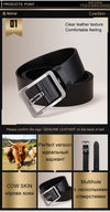Cowhide Genuine Leather Belts for Men Strap Male Pin Buckle Fancy Vintage Cowboy Jeans