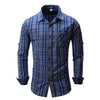 Men's shirt  Long Sleeve Plaid Shirts Mens Dress Shirt Brand Casual Denim Style Checks Shirts 102