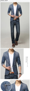 New Spring Fashion Men Blazer Men Trend Jeans Suits Casual Suit Jean Jacket Men Slim Fit Denim Jacket Suit Men
