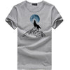 Fashion print wolf pattern casual t-shirt white/black young fashion funny t shirts cotton men clothing