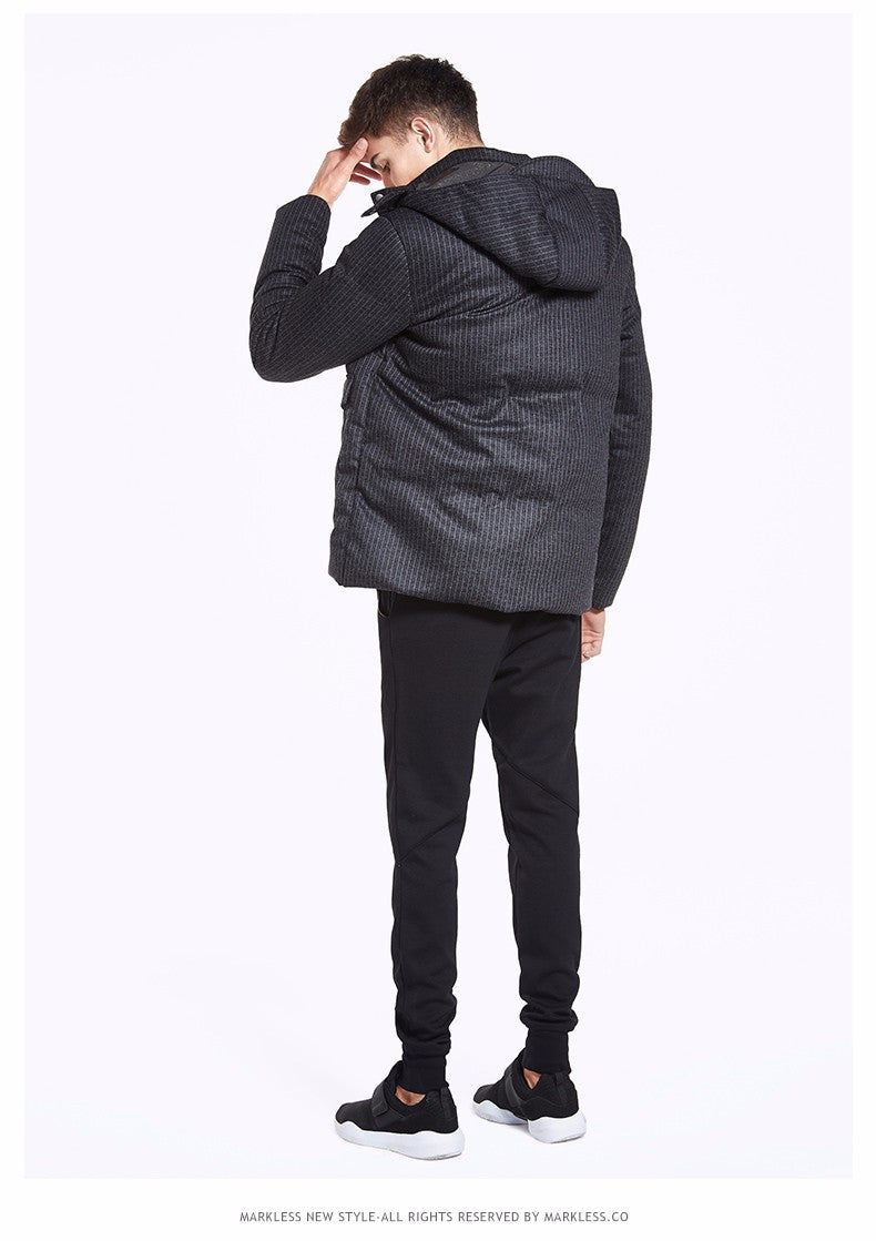 bd302a15c Winter Men Thick Seamless Down Coats Clothing For Man Casual Vertical  Stripes Down Jackets Hooded Men Outwear