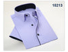 Summer New Men Short Sleeve Dress Shirts Black Stripes Splicing Pure Color Breathable Patchwork Men Casual Business Shirt