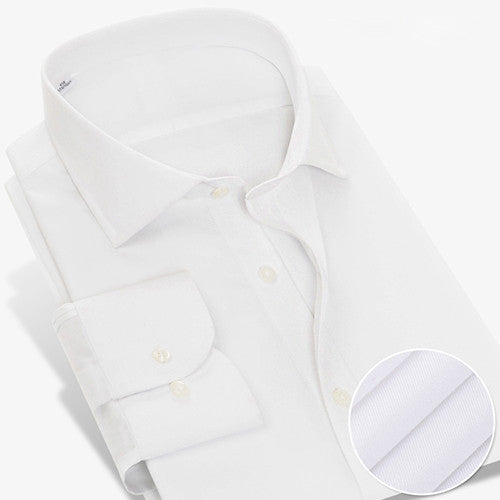 Mens Solid Broadcloth Wrinkle Dress Shirt Business Office Wear No