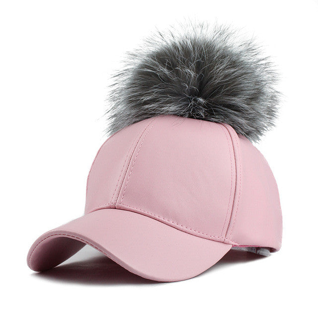 0c3b54111c8 PU Leather Baseball Female Cap Real Mink Pom Poms Real Fur Ball Cap Hip Hop  Caps