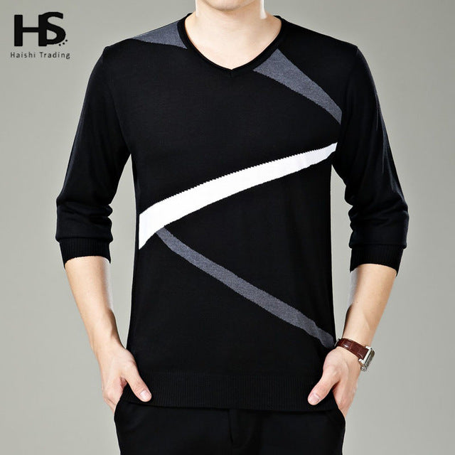 019273049e06f Fashion Flash Striped Pattern V-Neck Pull Home Warm Cashmere Wool Sweater  Men Knitted Pullover