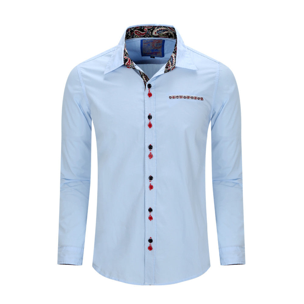 New Arrived Brand Mens Casual Shirt Long Sleeve Dress Shirt Solid