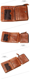Leather Men Wallets  Vintage Wallet Zip Coin Pocket Purse Leather Wallet For Mens