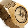 Lovers' 100% Natural Bamboo Wooden Watch with Genuine Brown Leather Strap Japanese Quartz Movement Casual Watches