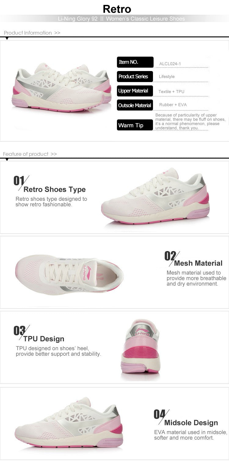 288bb0353fe0 Women s Classic Glory 92 Walking Shoes Breathable Sports Life Sneakers  Leisure Sports Shoes