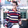 Autumn and winter men's Long sleeve T-shirt men's striped knit small lapel men's casual men's t shirts