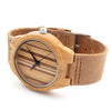 Men's Design Luxury Wooden Bamboo Watches With Real Leather Quartz Watch in Gift Box