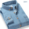 Autumn New Men Casual Shirts 100% Cotton High Quality Collar Button-Up Long Sleeve Slim Fit Men Denim Shirt With Pocket