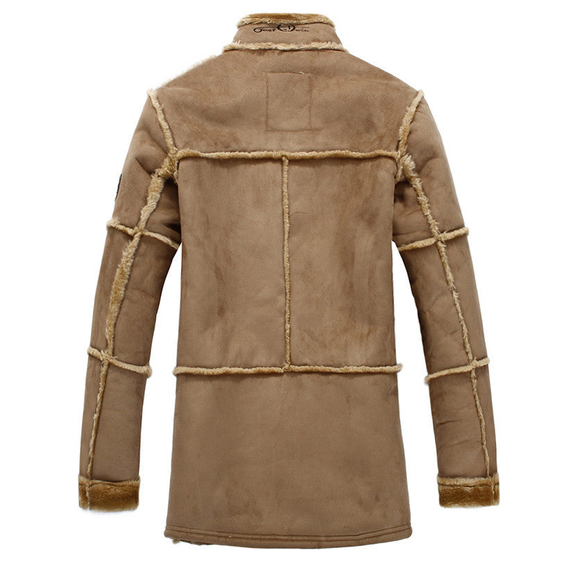 83d54dbe7 Long Coats Patchwork Leather Jackets Men Warm Coat Outerwear Faux Suede  Jacket Luxury Jacket Mens Jackets and Coats