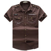 New Men Cargo Shirt Men's Fashion Shirt Short Sleeve Mens Casual Work Tops100% Cotton Solid Zipper for Man Plus Size 55885