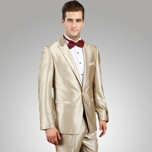 Champagne Skinny Tuxedo Prom Suits - ThreadCreed