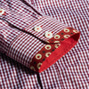 Stylish Slim Fit Red Plaid Social Shirt Men Blouse Long Sleeve  Designer Male Casual Check Shirt Chemise