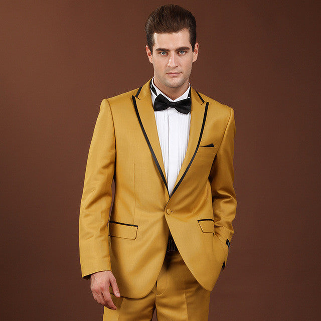 Gold Suits For Men Clothing Smoked Wedding Suits Nightclub Male ...