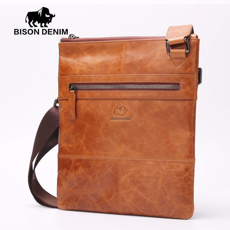 c6266574fd2a Vintage Shoulder Bag man messenger bags Cow Leather Thin soft brown yellow  Crossbody