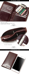 New Blocking 100% Genuine Leather Men's Slim Wallet Long Billfold Cowhide Card Holder Protection Male Purse