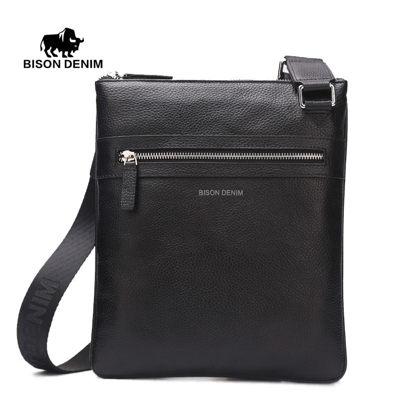 Men s Shoulder Bag Genuine Leather Satchel iPad Tablet Messenger Bag black  thin soft casual male bag 542ef43e0bb17