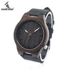 Men's Asymmetric Design Ebony Wooden Watches with Soft Leather Band with Gift Box as Gift Accept