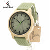 New Fashion Bamboo Wood Watches with Soft Green Silicone Straps Quartz Movement Watch in Boxes