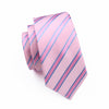 Gents Necktie Pink Stripe 100% Silk Jacquard Tie Hanky Cufflinks Set Business Wedding Party Ties For Men