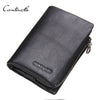 Cowhide Genuine Leather Men Wallets Short Purse With Card Holder Vintage Business Style Wallet Clutch Wrist Bag
