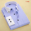 Autumn New Men Dress Shirts Solid Men Clothing Long Sleeve Patchwork Plaid Collar Button-Up Men Business Casual Shirt
