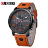 Original Top Men Sports Waterproof Quartz Watch Fashion Military Luxury Leather Wristwatch