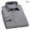 Autumn Men's Solid Oxford Dress Shirt Spread collar Long Sleeve Silk&Cotton Blend Business Casual Regular Fit Formal Shirts